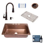 angelico copper kitchen sink, ashfield rustic bronze faucet, bottom grid, basket strainer drain, copper care IQ kit, scrubber