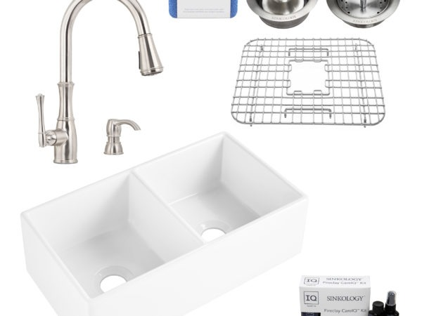 brooks II fireclay double bowl sink, wheaton faucet, stainless steel bottom grid, basket drain, disposal drain, careIQ kit, scrubber