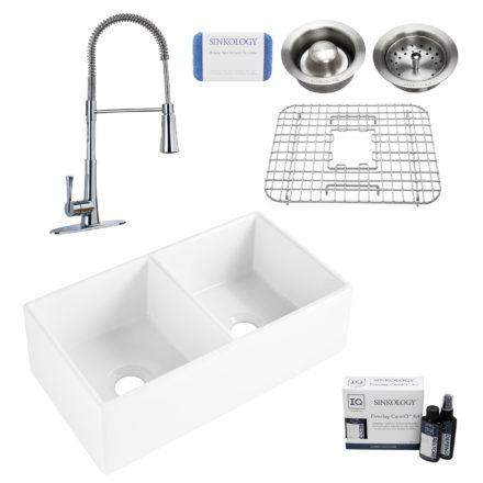 brooks II fireclay double bowl sink, zuri faucet, stainless steel bottom grid, basket drain, disposal drain, careIQ kit, scrubber