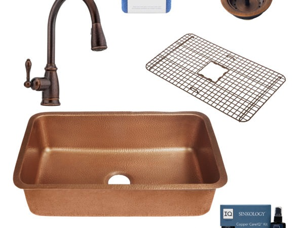 orwell copper kitchen sink, canton rustic bronze faucet, bottom grid, basket strainer drain, copper care IQ kit, scrubber
