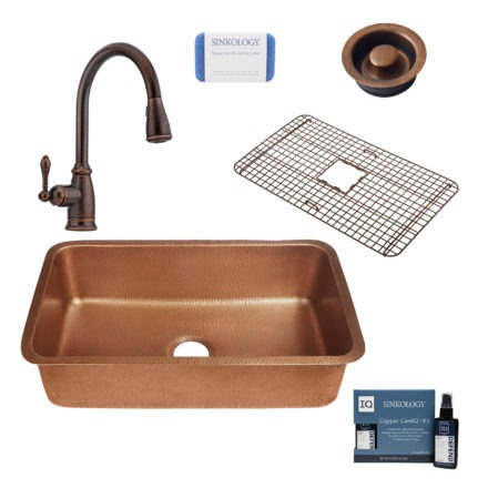 orwell copper kitchen sink, canton rustic bronze faucet, bottom grid, disposal drain, copper care IQ kit, scrubber