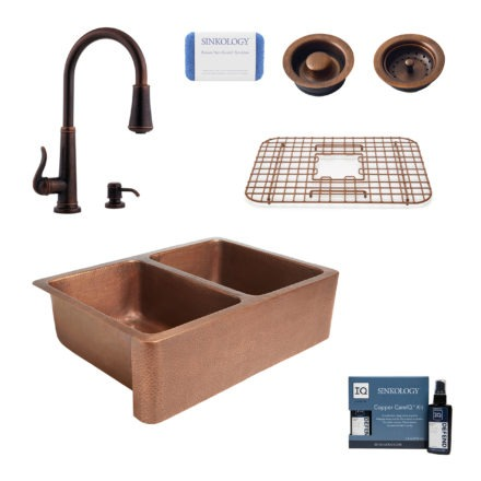 rockwell copper kitchen sink, ashfield rustic bronze faucet, bottom grid, basket strainer drain, disposal drain, copper care IQ kit, scrubber