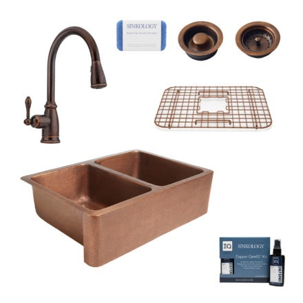 rockwell copper kitchen sink, canton rustic bronze faucet, bottom grid, basket strainer drain, disposal drain, copper care IQ kit, scrubber