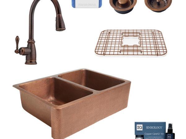 rockwell copper kitchen sink, canton rustic bronze faucet, bottom grid, basket strainer drain, disposal drain, copper care IQ kit, scrubber