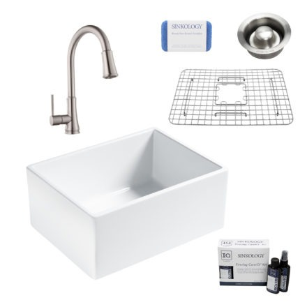 wilcox II fireclay double bowl sink, pfirst faucet, stainless steel bottom grid, disposal drain, careIQ kit, scrubber