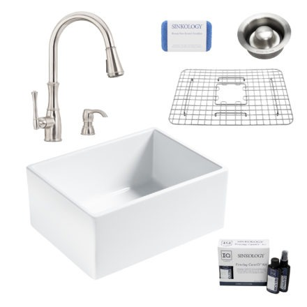 wilcox II fireclay double bowl sink, wheaton faucet, stainless steel bottom grid, disposal drain, careIQ kit, scrubber