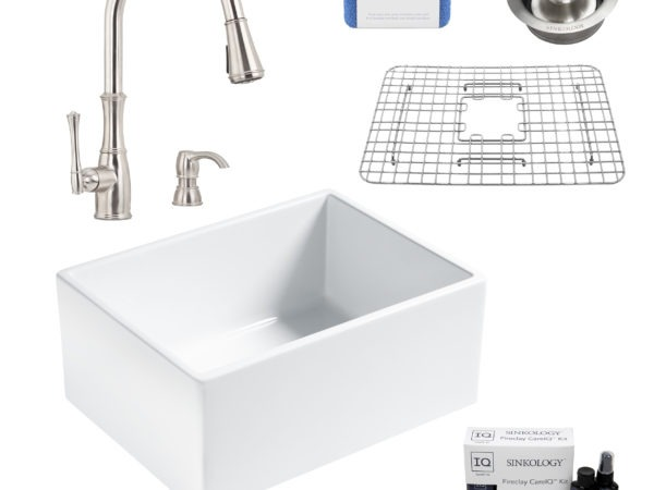 wilcox II fireclay double bowl sink, wheaton faucet, stainless steel bottom grid, disposal drain, careIQ kit, scrubber