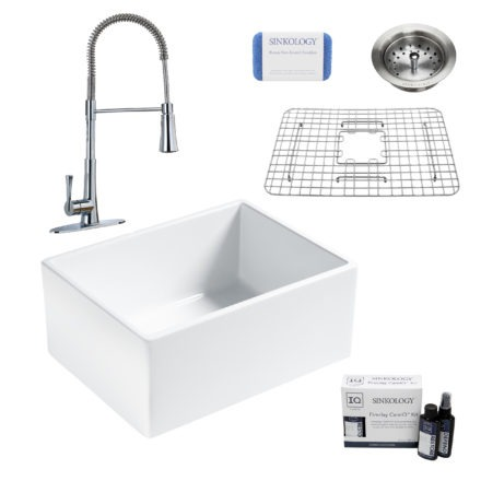 wilcox II fireclay double bowl sink, zuri faucet, stainless steel bottom grid, strainer drain, careIQ kit, scrubber