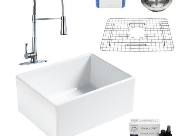 wilcox II fireclay double bowl sink, zuri faucet, stainless steel bottom grid, strainer drain, careIQ kit, scrubber