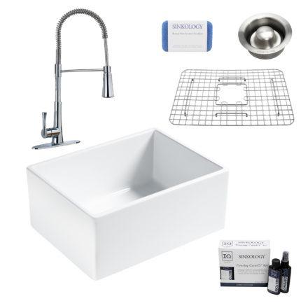 wilcox II fireclay double bowl sink, zuri faucet, stainless steel bottom grid, disposal drain, careIQ kit, scrubber