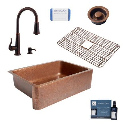 adams copper kitchen sink, ashfield faucet, disposal drain, copper care IQ kit, scrubber