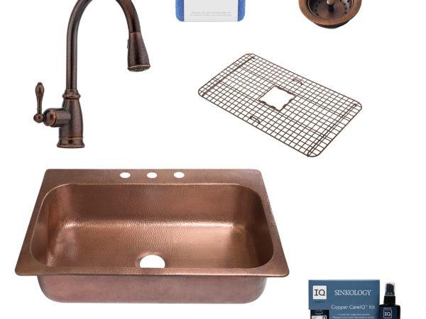 angelico copper kitchen sink, canton faucet, basket strainer drain, copper care IQ kit, scrubber