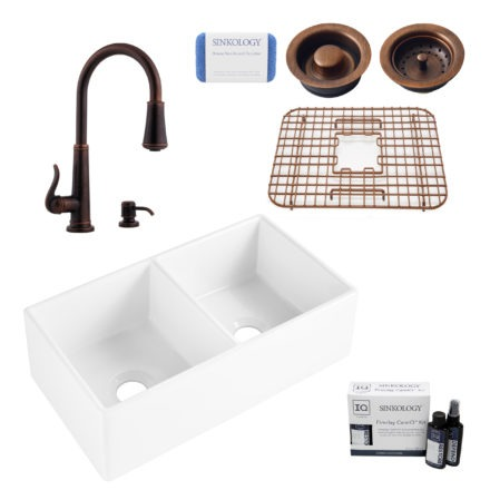 brooks ii fireclay kitchen sink, ashfield faucet, basket strainer and disposal drain, fireclay care IQ kit, scrubber