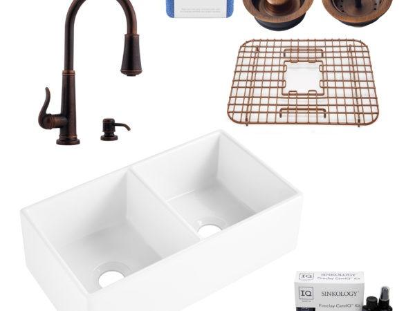brooks ii fireclay kitchen sink, ashfield faucet, basket strainer and disposal drain, fireclay care IQ kit, scrubber