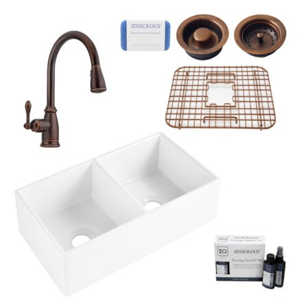 brooks ii fireclay kitchen sink, canton faucet, basket strainer and disposal drain, fireclay care IQ kit, scrubber