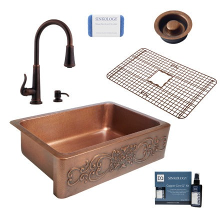 ganku copper kitchen sink, ashfield faucet, disposal drain, copper care IQ kit, scrubber