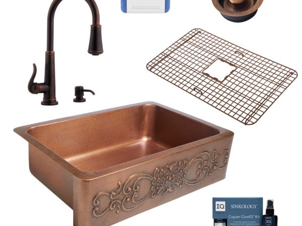 ganku copper kitchen sink, ashfield faucet, disposal drain, copper care IQ kit, scrubber