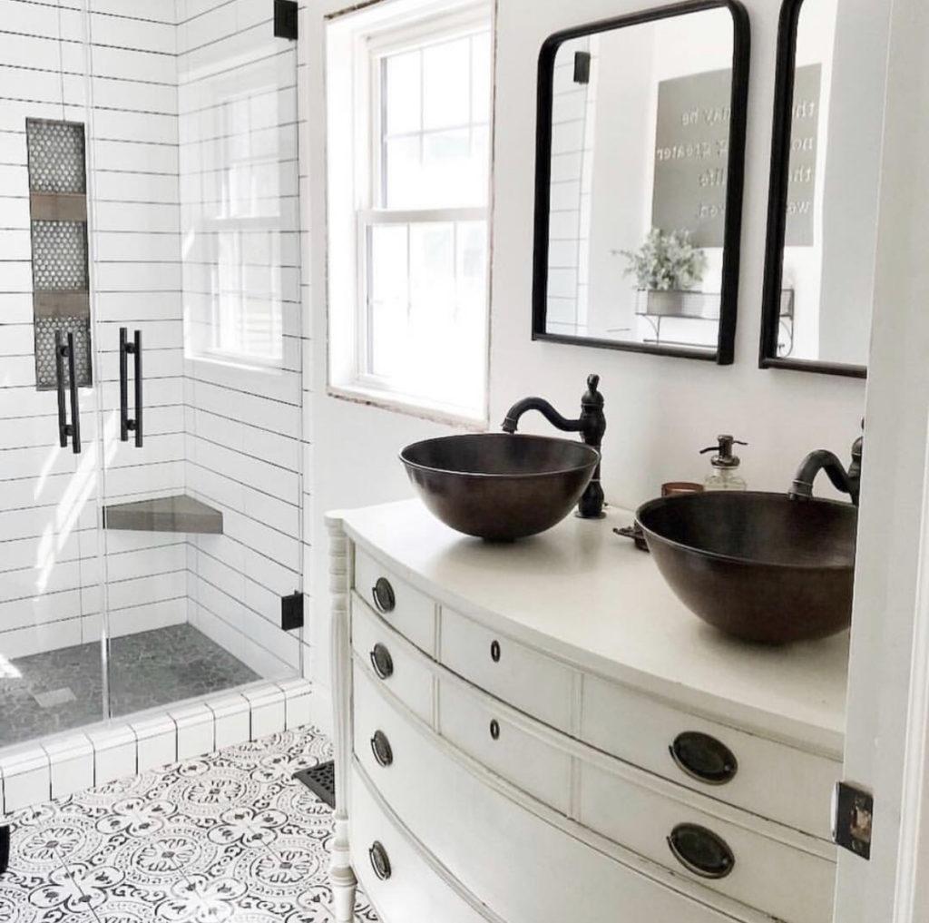 two vessel sinks in a bathroom