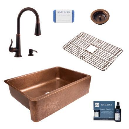lange copper kitchen sink, ashfield faucet, bottom grid, basket strainer drain, copper care IQ kit, scrubber