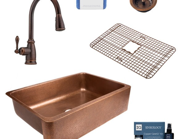 lange copper kitchen sink, canton faucet, bottom grid, basket strainer drain, copper care IQ kit, scrubber