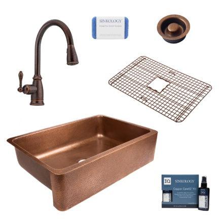 lange copper kitchen sink, canton faucet, bottom grid, disposal drain, copper care IQ kit, scrubber