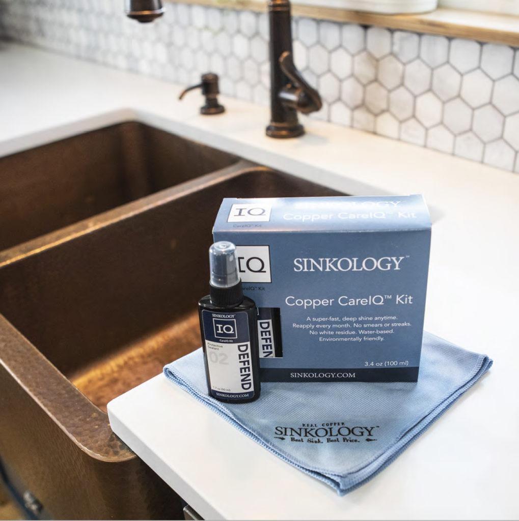 copper care IQ kit next to copper sink