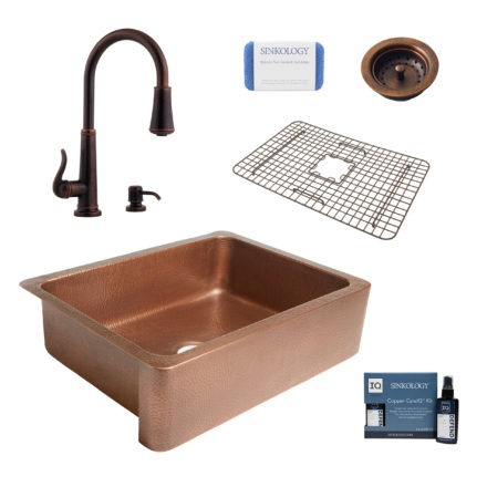 courbet copper kitchen sink, ashfield faucet, bottom grid, basket strainer drain, copper care IQ kit, scrubber