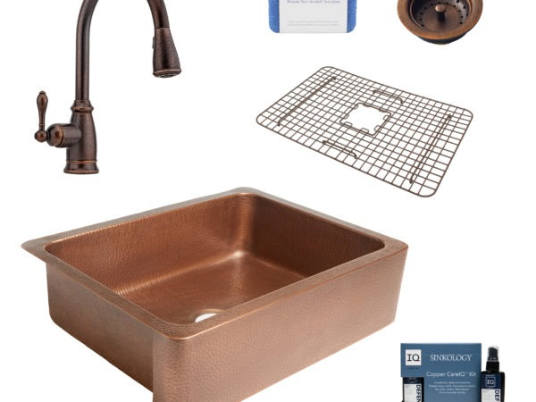 courbet copper kitchen sink, canton faucet, bottom grid, basket strainer drain, copper care IQ kit, scrubber