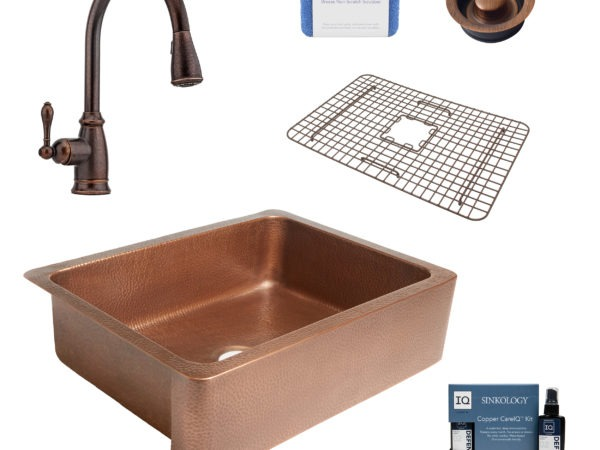 courbet copper kitchen sink, canton faucet, disposal drain, bottom grid, copper care IQ kit, scrubber