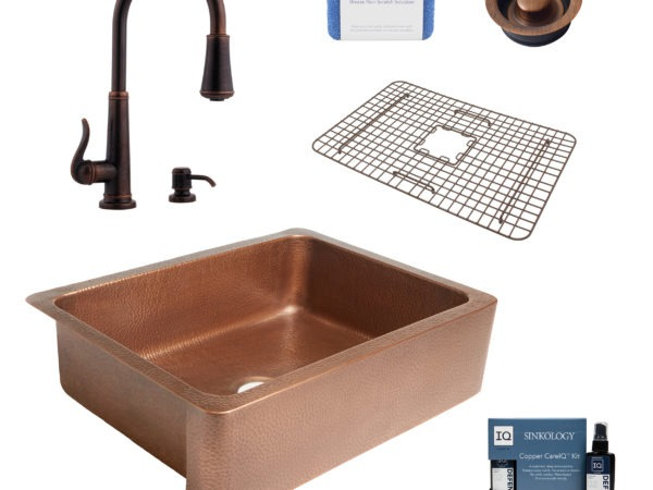 courbet copper kitchen sink, ashfield faucet, disposal drain, bottom grid, copper care IQ kit, scrubber