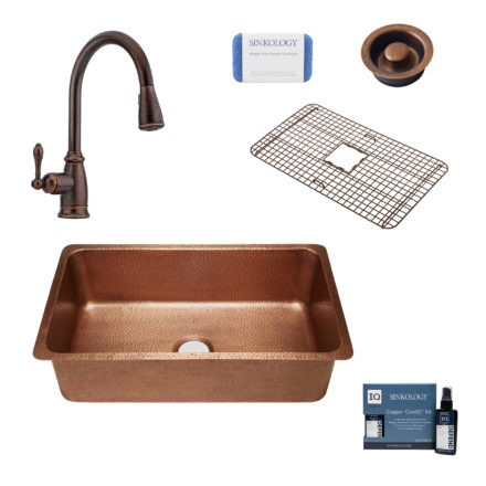 david copper kitchen sink, canton faucet, bottom grid, disposal drain, copper care IQ kit, scrubber