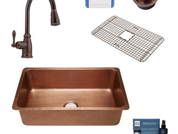 david copper kitchen sink, canton faucet, bottom grid, disposal drain, copper care IQ kit, scrubber