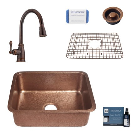 renoir copper kitchen sink, canton faucet, bottom grid, disposal drain, copper care IQ kit, scrubber