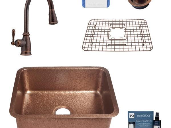 renoir copper kitchen sink, canton faucet, bottom grid, disposal drain, copper care IQ kit, scrubber