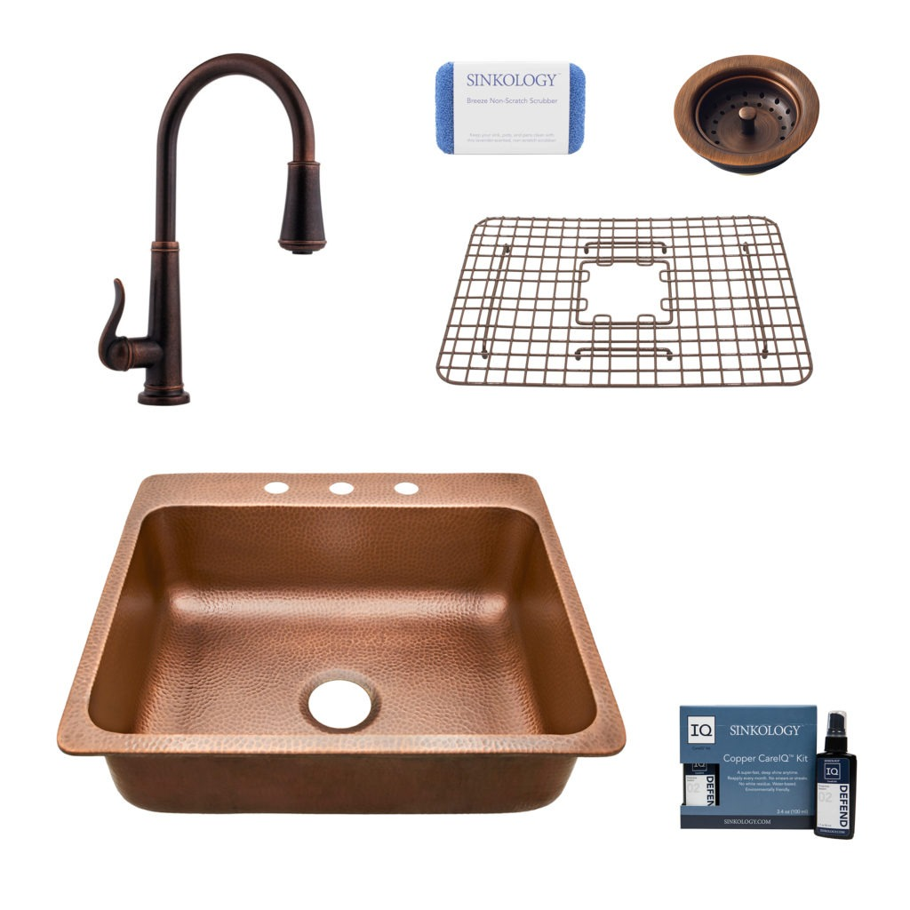 Sinkology Rosa Single Bowl Copper Sink Design Kit and ...