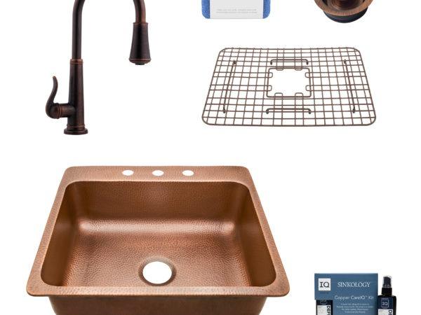 rosa 3 hole copper kitchen sink, ashfield faucet, disposal drain, bottom grid, copper care IQ kit, scrubber