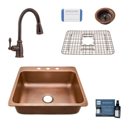 rosa 3 hole copper kitchen sink, canton faucet, basket strainer drain, bottom grid, copper care IQ kit, scrubber