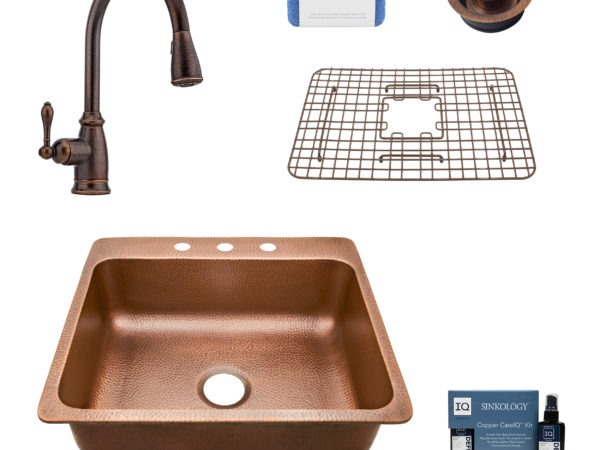 rosa 3 hole copper kitchen sink, canton faucet, bottom grid, disposal drain, copper care IQ kit, scrubber