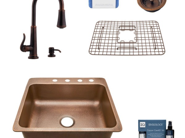 rosa 4 hole copper kitchen sink, ashfield faucet, basket strainer drain, bottom grid, copper care IQ kit, scrubber