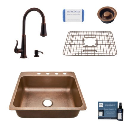 rosa 4 hole copper kitchen sink, ashfield faucet, disposal drain, bottom grid, copper care IQ kit, scrubber