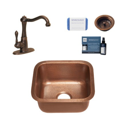 sisley copper bar and prep sink, marielle faucet, basket strainer drain, copper care IQ kit, scrubber