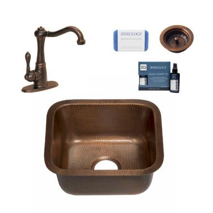 copper bar and prep sink, marielle faucet, basket strainer drain, copper care IQ kit, scrubber