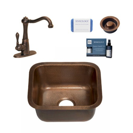 copper bar and prep sink, marielle faucet, disposal, copper care IQ kit, scrubber