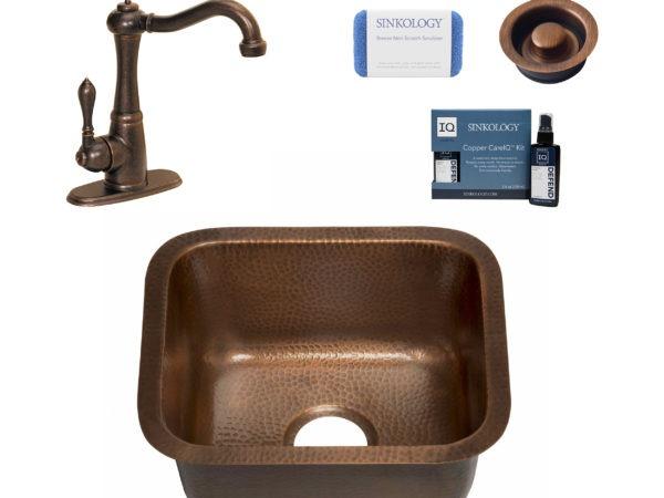 copper bar and prep sink, marielle faucet, disposal, copper care IQ kit, scrubber