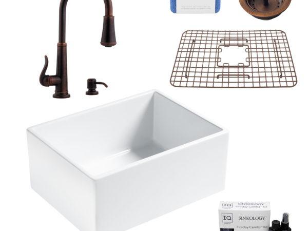 wilcox ii fireclay kitchen sink, ashfield faucet, basket strainer drain, fireclay care IQ kit, scrubber
