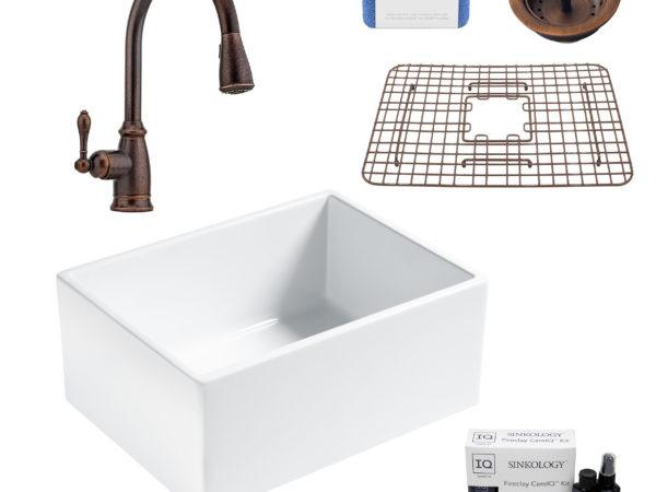 wilcox ii fireclay kitchen sink, canton faucet, basket strainer drain, fireclay care IQ kit, scrubber