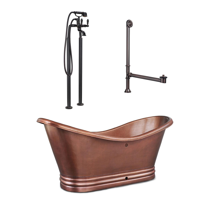 Euclid Overflow Copper Bathtub Made By Sinkology