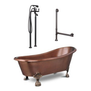 freestanding clawfoot bathtub with tub filler and overflow drain