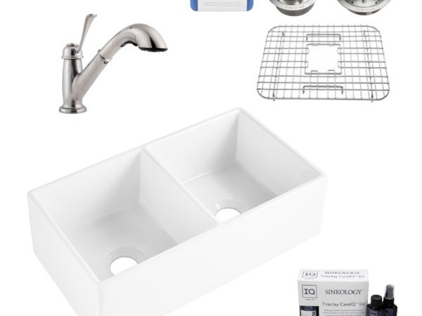 fireclay sink, faucet, bottom sink grid, disposal drain, strainer drain, cleaning kit, and scrubber