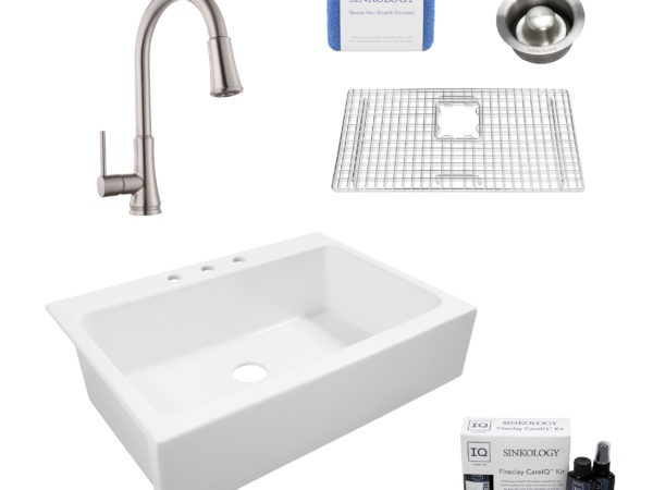 fireclay sink, faucet, bottom sink grid, drain, cleaning kit, and scrubber
